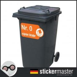 Mülleimer Straße und Hausnummer Aufkleber