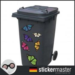 Mülleimer Schmetterlinge Aufkleber