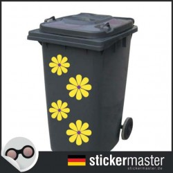 Mülleimer gelbe Blume Aufkleber