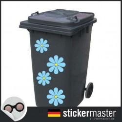 Mülleimer blau Blume Aufkleber