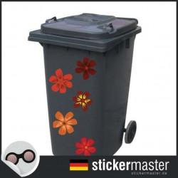 Mülleimer rot Blume Aufkleber