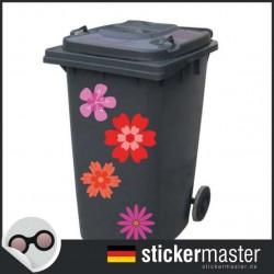 Mülleimer rosarot Blume Aufkleber