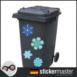 Mülleimer Blumenset Aufkleber