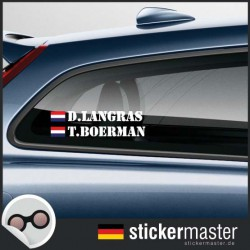 Fahrername Aufkleber Stencil mit Flagge