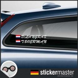 Fahrername Aufkleber Brush mit Flagge