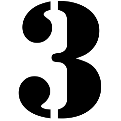 Ziffer 3 Stencil Zahlenaufkleber