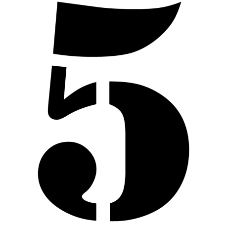 Ziffer 5 Stencil Zahlenaufkleber