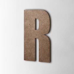 Holzbuchstabe R Impact MDF Braun