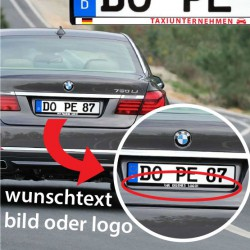 Kennzeichenhalter aufkleber selbst gestalten wunschtext bild oder logo