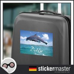 eigener Name Kofferaufkleber Delphin