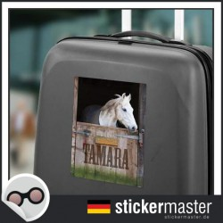 eigener Name Kofferaufkleber Pferd