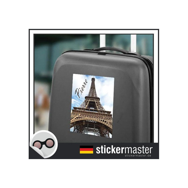 eigener name kofferaufkleber paris stickermaster. Black Bedroom Furniture Sets. Home Design Ideas