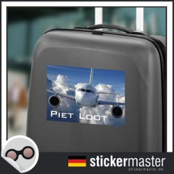 eigener Name Kofferaufkleber Flugzeug