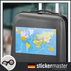 eigener Name Kofferaufkleber Weltkarte