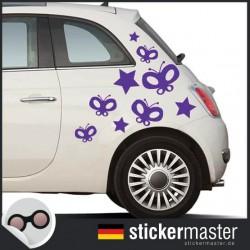 Sterne und Schmetterlinge Autoaufkleber