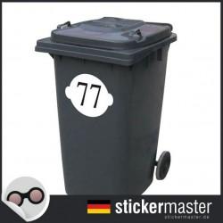 Mülleimer Aufkleber Nummer