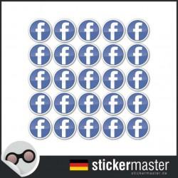 Facebook F 2 x 2 cm 100 Runde Aufkleber