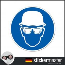 Kopfschutz und Brille tragen Aufkleber