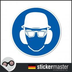 Kopfschutz, Brille und Ohrbügel tragen Aufkleber